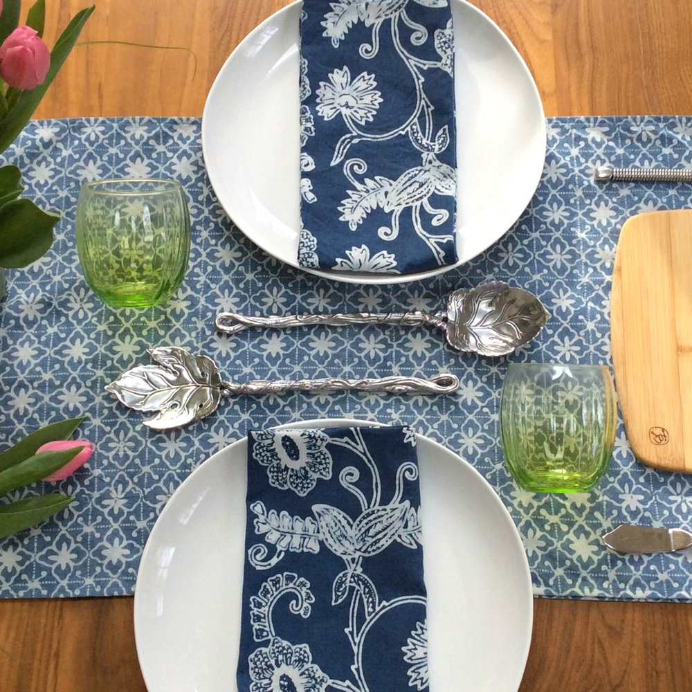 Sky Garden Napkins, Bluette Table Runner