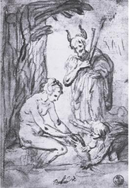 Fig. 2, Giovanni Bilivert, Venus, Cupid and Pan, Gabinetto di Disegni e Stampe, Gallerie degli Uffizi, Florence Gabinetto di Disegni e Stampe, Gallerie degli Uffizi, Florence