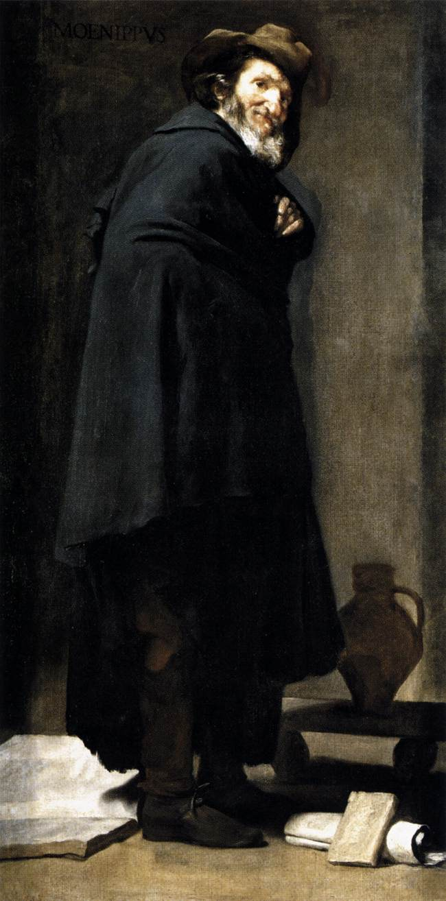 Figure 2      Diego Rodriguez De Silva Y Vel  á  zquez        Menippus and Aesop     Oil on canvas, 70 ¾ x 37 ¼ in       c. 1639 – 1641    Madrid, Prado