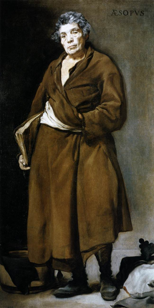 Figure 3     Diego Rodriguez De Silva Y Vel  á  zquez        Menippus and Aesop     Oil on canvas, 70 ¾ x 37 ¼ in    c. 1639 – 1641    Madrid, Prado