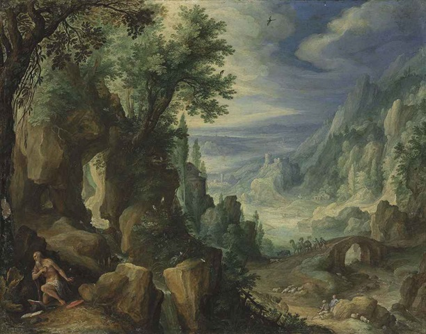 Figure 2 Paul Bril (Antwerp 1554 – 1626 Rome) Saint Jerome Praying in a Rocky Landscape Signed 'PB' and inscribed with initials and dated 'PB 1592' (reverse) Oil on copper; 25.7 x 32.8 cm