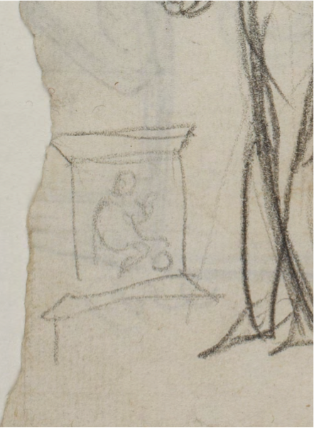 (fig.2) Diomedes with the Palladium and Ulysses (detail, with design for Baptismal Font?), c.1804, Pencil on paper, 19.8 x 146 cm. Thorvaldsen Museum, Copenhagen, inv. C8r
