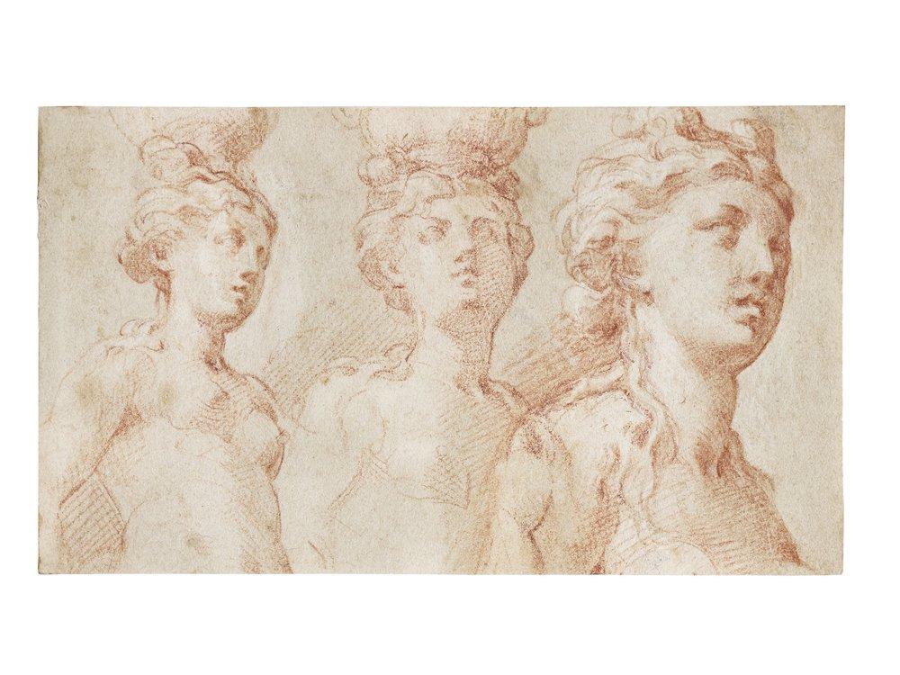 Il Parmigianino (1503 - 1540),  Studies of a Nude Female Figure