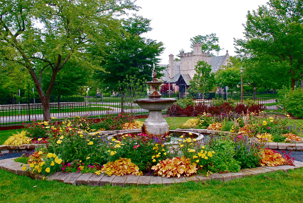 The Charles Ware Memorial Garden's fountain.