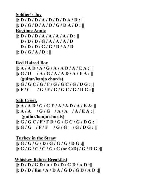Jam Instrumental Chord Progression Chart — The Handsome Ladies