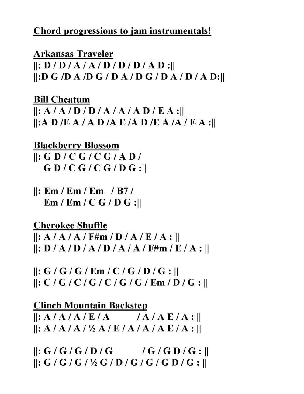 Jam Instrumental Chord Progression Chart The Handsome Ladies