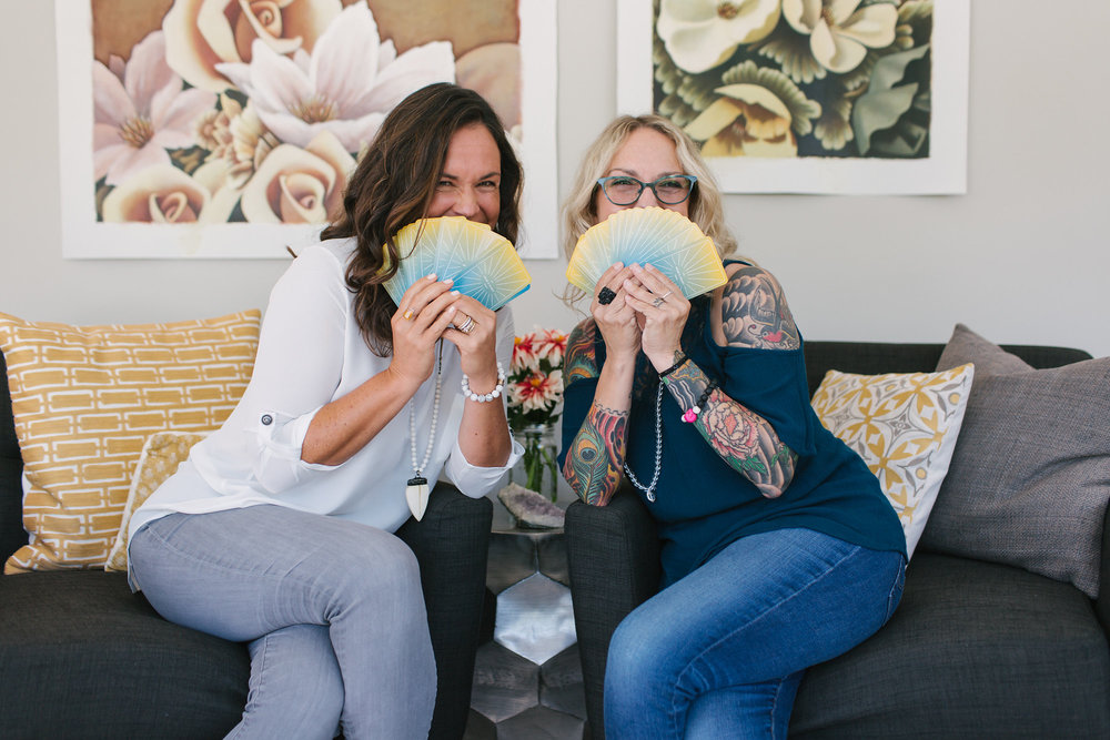 Johanna Beyer and Ariane Trélaün with The Head & Heart Tarot. photo by hi5studio