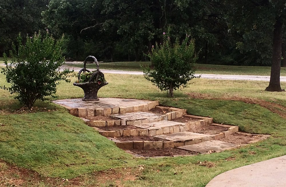 Rock staircase/sitting area