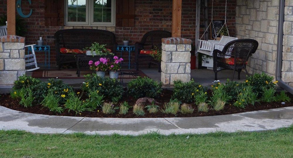 New flower bed installation