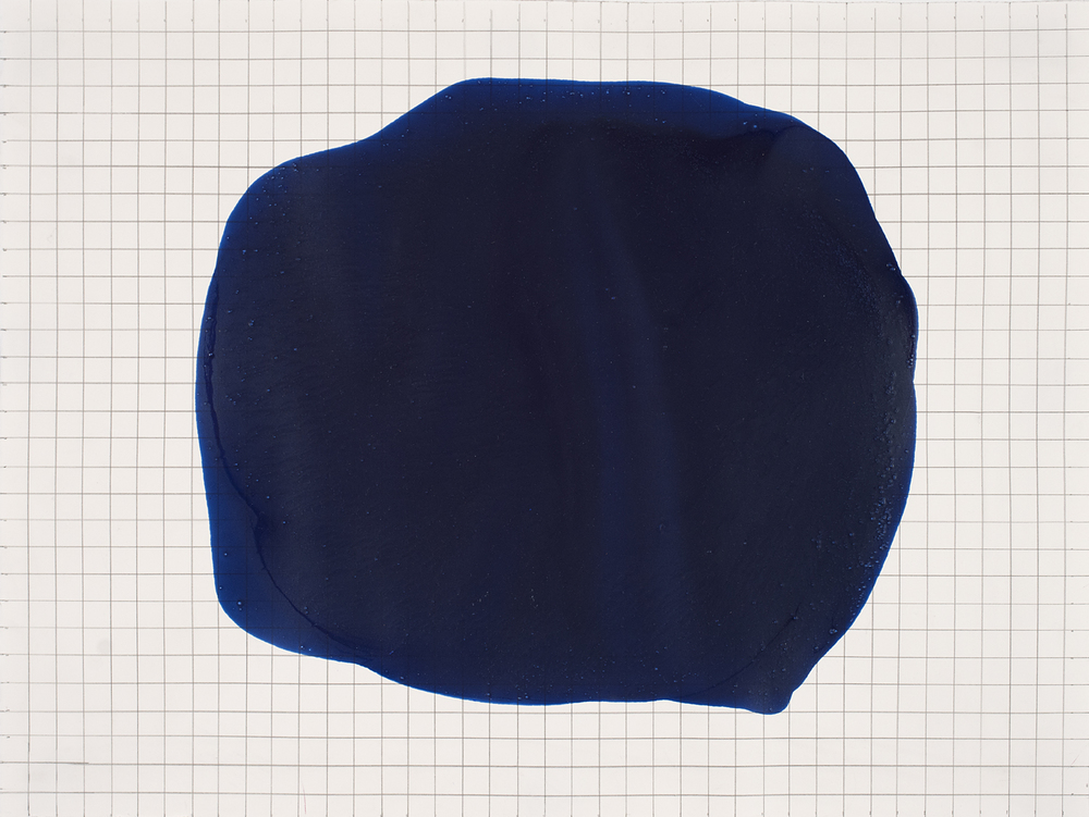 Blue Spot Over Grid,2007 15 by 20 inches Paint and graphite on paper