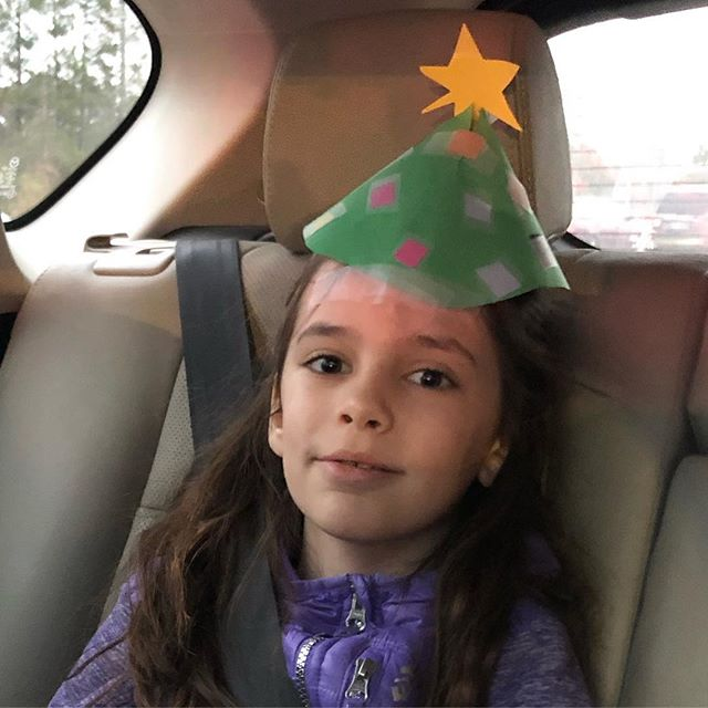 When it's holiday hat day at school, a store-bought hat is not good enough #constructionpapermagic #tapeontheforeheadthough