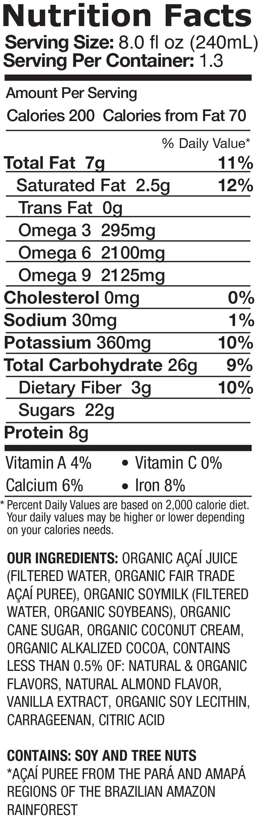 Protein Chocolate + Almond + Coconut Milk Nutrition Facts