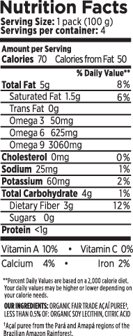 Açaí Berry Superfruit Pack Pure Unsweetened Nutrition Facts