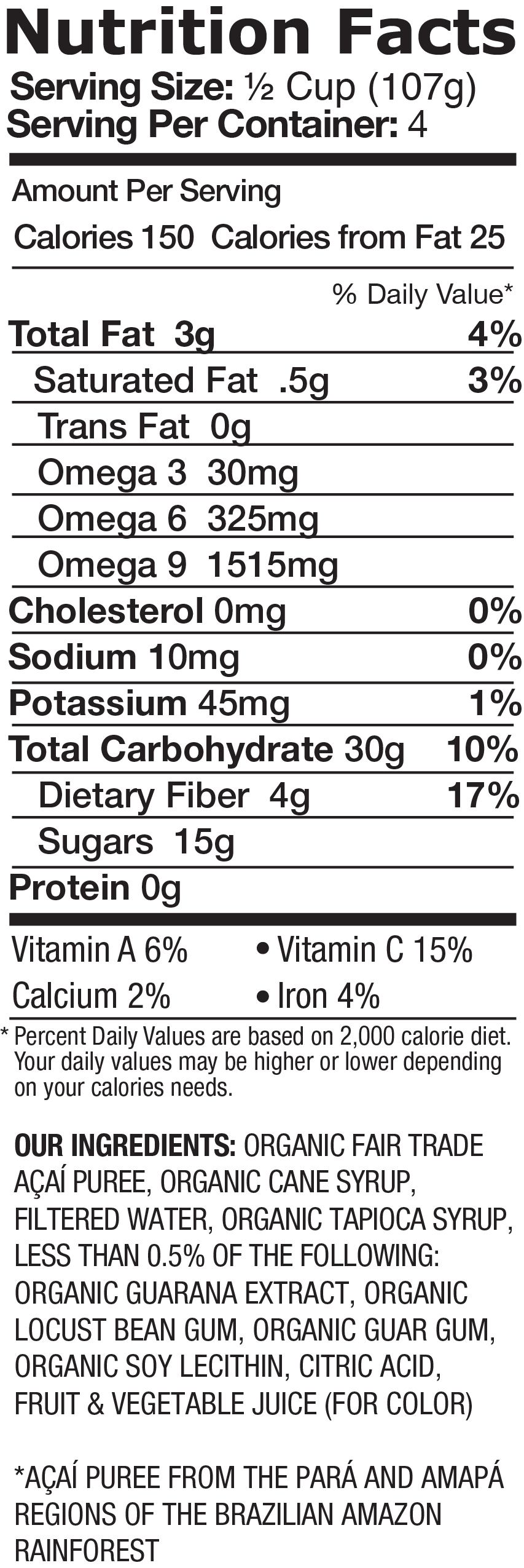 Organic Sorbet Açai Berry Nutrition Facts