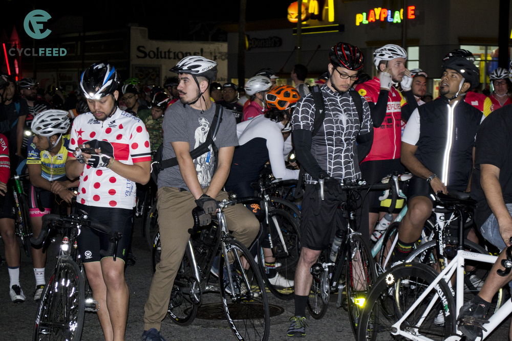Cyclists gather for Wolfpack Hustle's Crash Ride. Photo by Ruth Saravia.