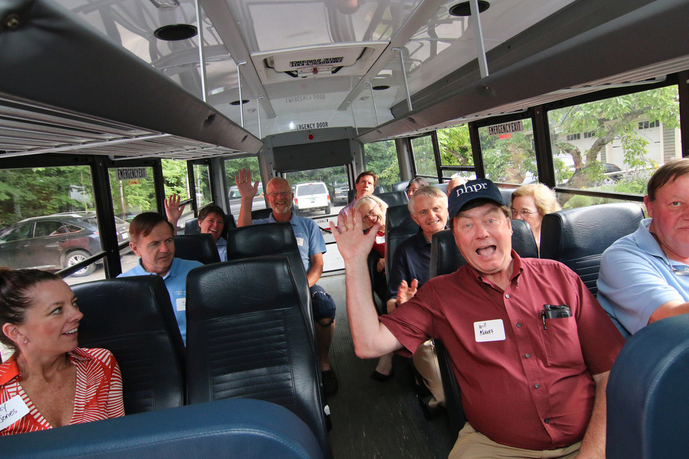 "Lakes Region listeners and supporters take the ""NHPR Express"" to celebrate our new signal in Holderness, 2013"