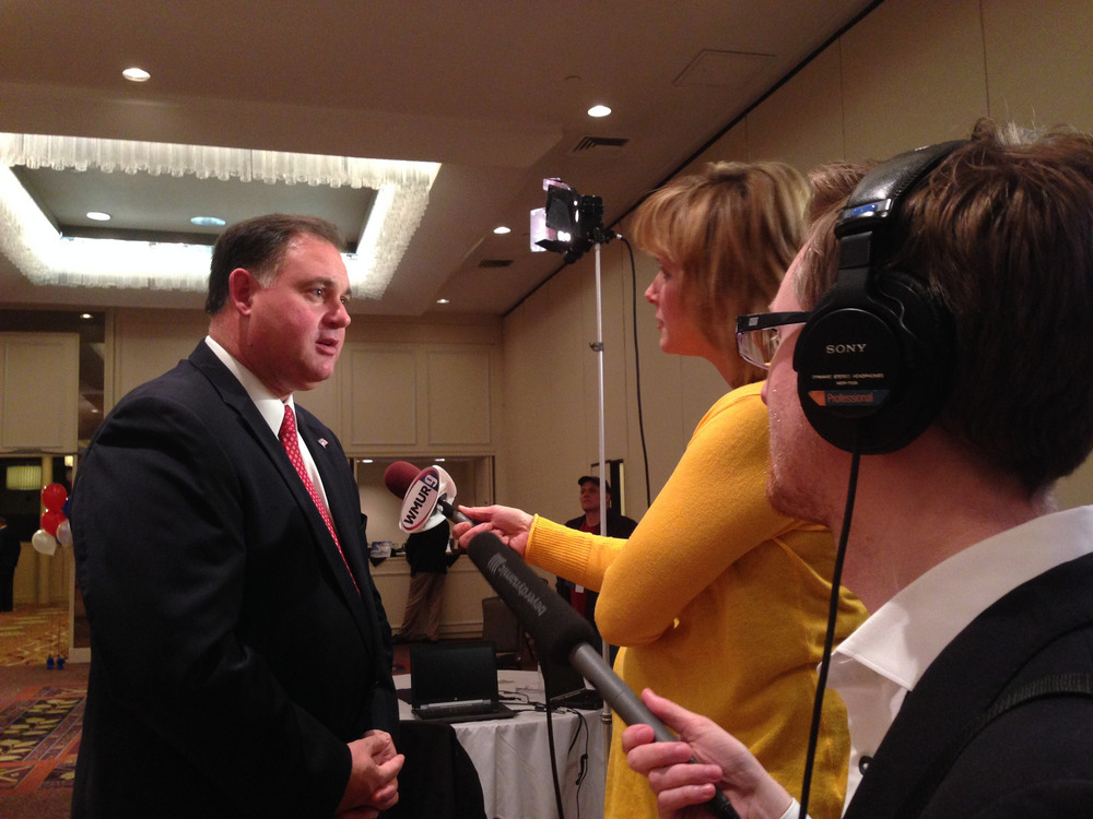 Ryan Lessard interviews Congressman Frank Guinta on election night, 2014