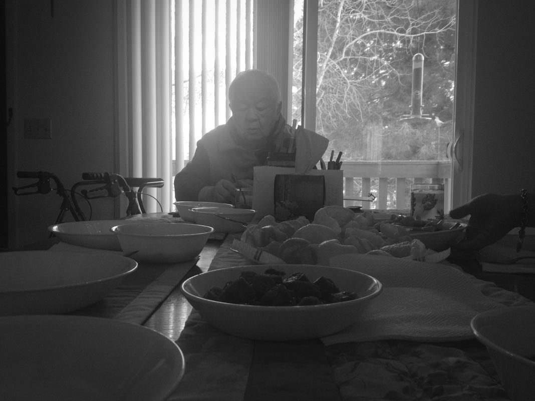 Gung gung, my grandpa, sitting down for lunch.