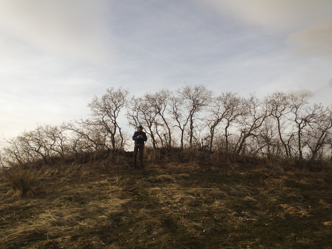 Russel photographs on a hill.