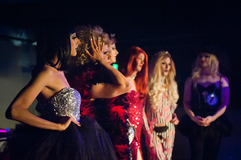Contestants of the Miss City Weekly drag queen pageant wait to discover the winner.