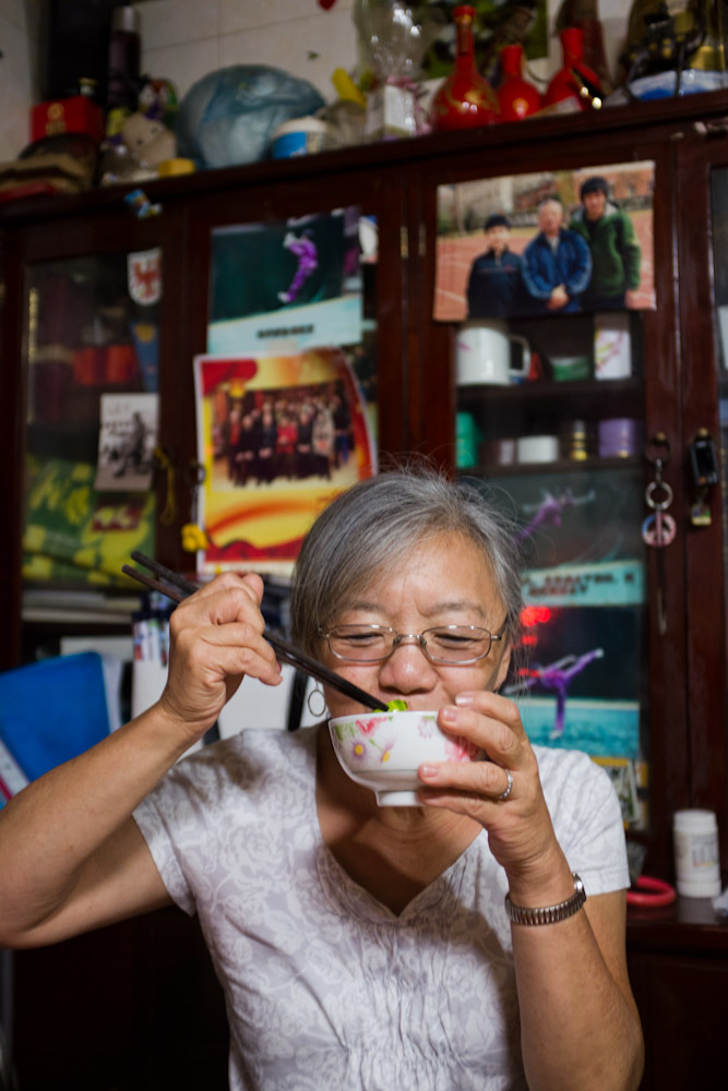 My mom eating a homemade lunch in Beijing. The food was so delicious!