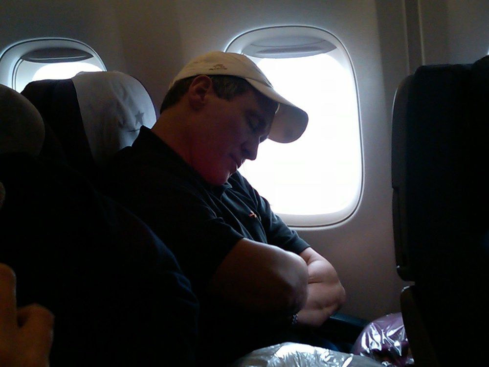Lunch tends to knock King All (his given Peruvian-name) out cold...we haven't even taken off yet.