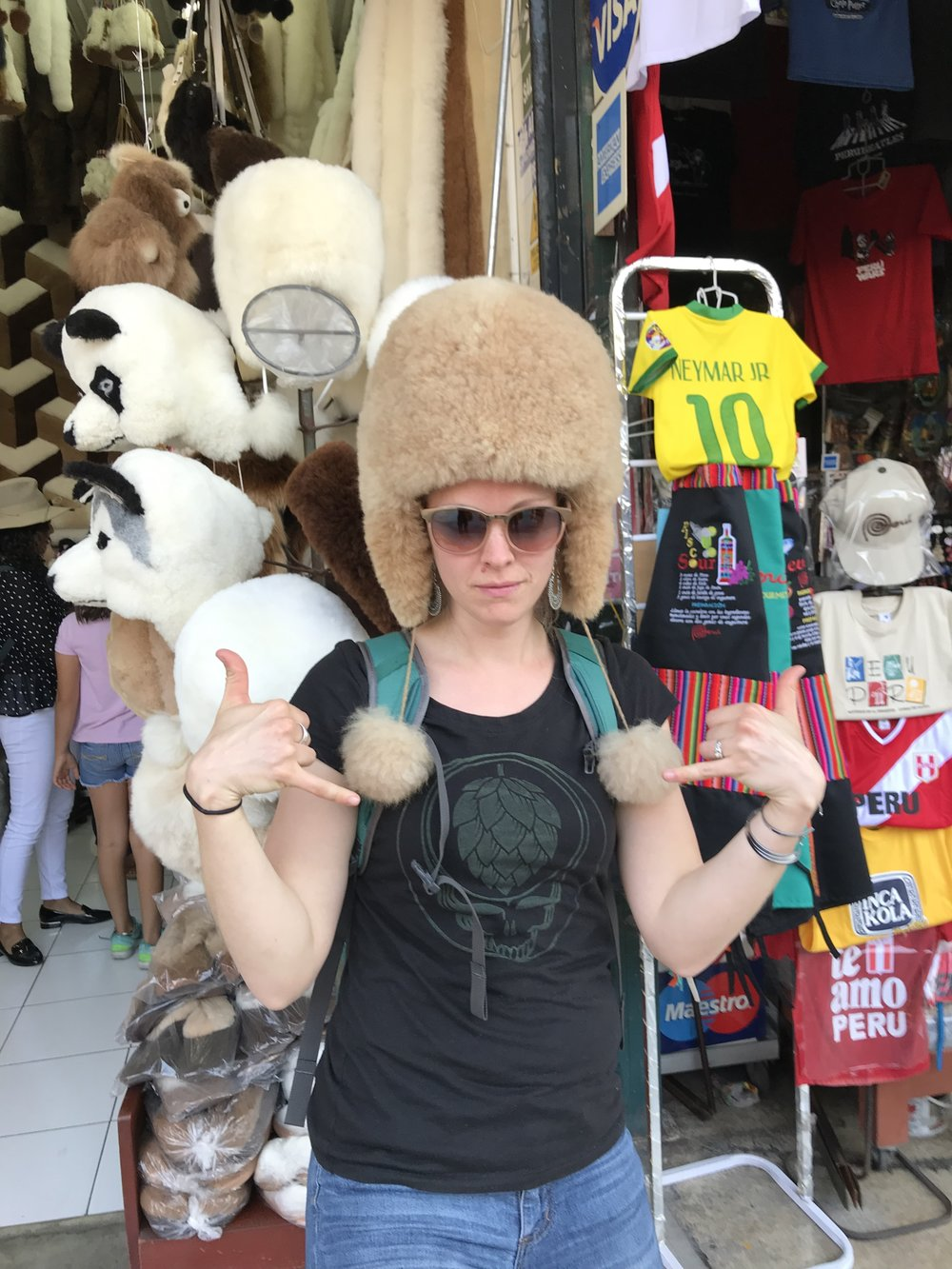 Nellie Z. One of the newest members of DWT - pictured shopping in Miraflores. That hat is made from Alpaca - so incredibly soft!!
