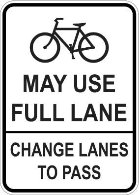 may use full lane sign