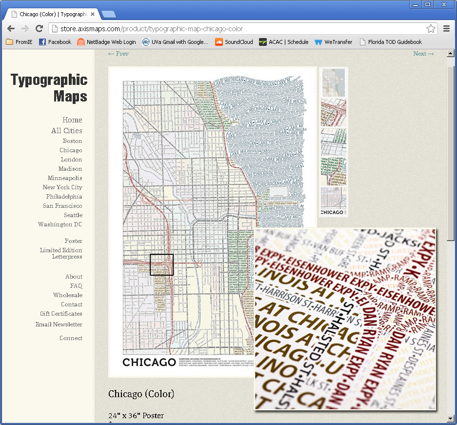 Typographic Maps - Chicago, DC, etc