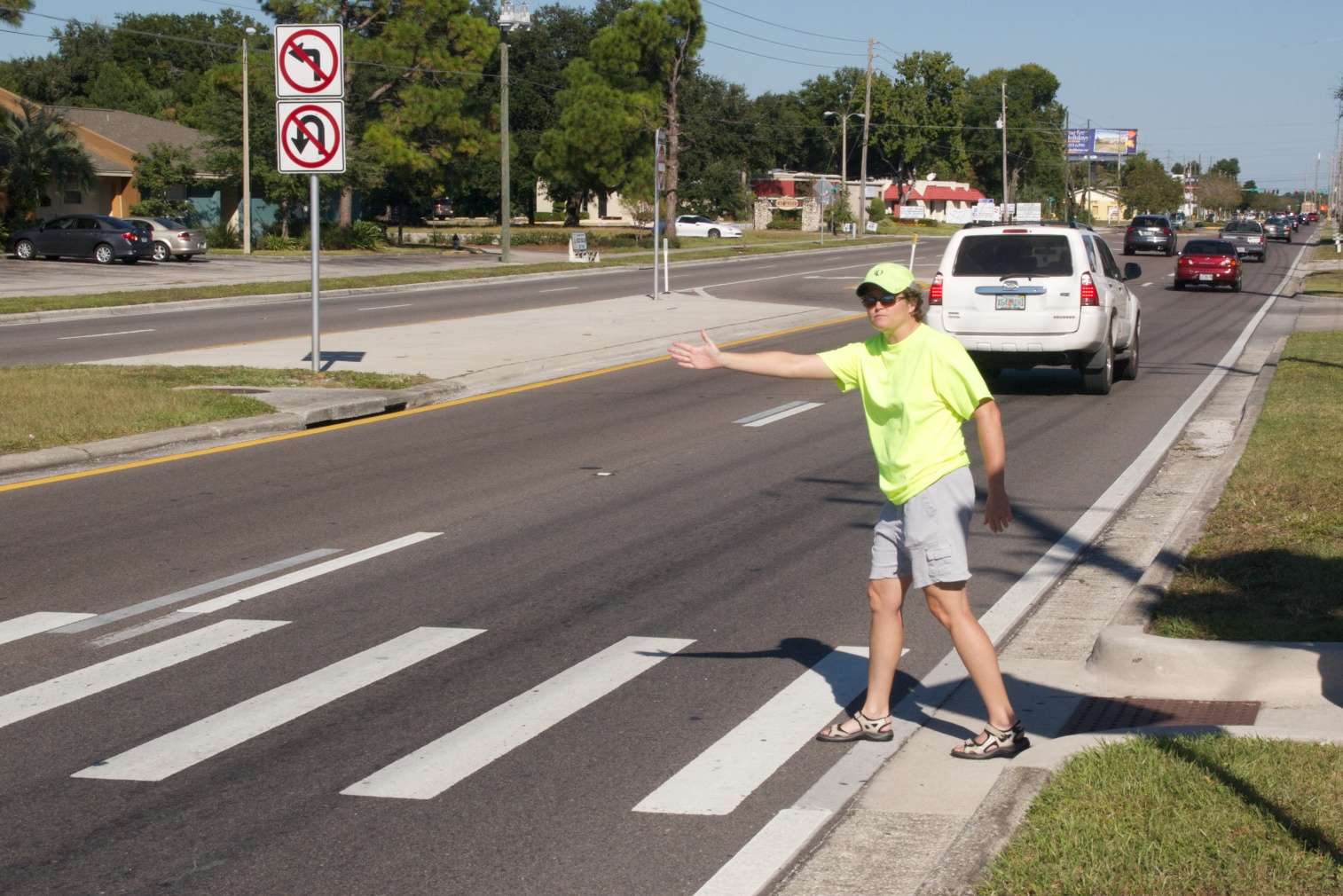 pedestrian crossing at crosswalk