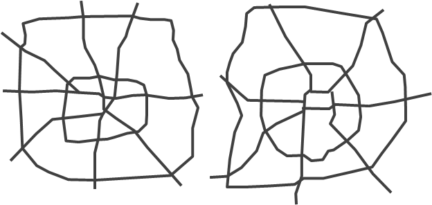 The major street networks, at the same scale, in Houston, Texas and Beijing, China.  Can you tell which is which?
