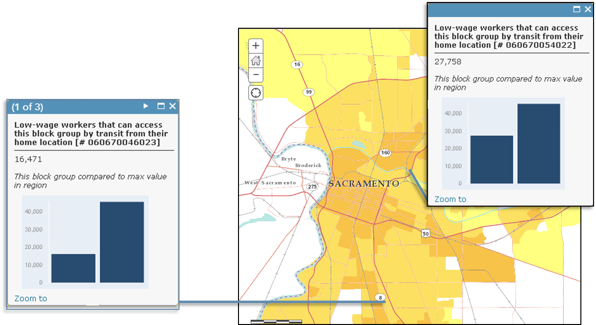 The AVT can help planners and researchers compare places within a given region in terms of the amount of activity (of a given type) that transit can reach from each block group origin. Here's a comparison of two places in Sacramento that I would otherwise know nothing about (AVT screenshot).