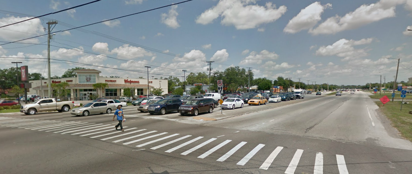Bruce B Downs Boulevard at Fletcher Avenue. I walked this intersection fairly regularly while living as a carless student near the University of South Florida. (Google Streetview screenshot)