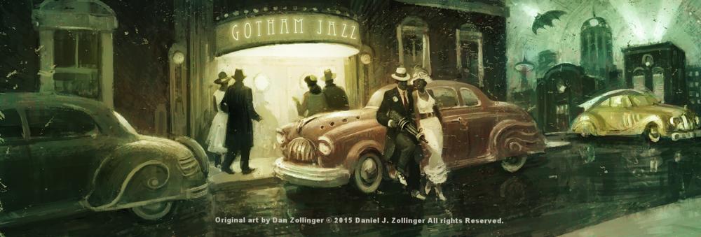 """""""GOTHAM JAZZ""""- illustration for STORIUM by Dan Zollinger © 2015 Daniel J. Zollinger - All rights Reserved."""