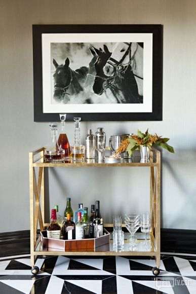 If you watch  flipping out  on bravo you know jeff and his employees love a good cocktail at 5:00. so of course he would have a beautiful bar cart.  but you have to know how to make the perect martini if you're going to work for Jeff Lewis.