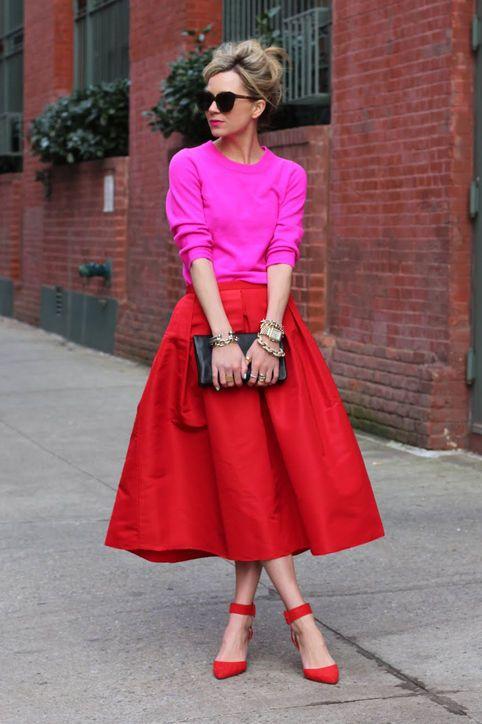 I love the vibrant mix of hot pink and red.  This would look great on a lot of different body types also.  Via  glamour