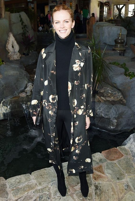 actress brooklyn decker wearing  Brooke Atwood 's robe in collaboration with Ashley's floral skills