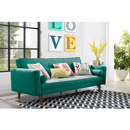 I just specked this  futon  for a client's playroom.  Love Love the teal color, but you have to wait if you want this color, it's currently out of stock