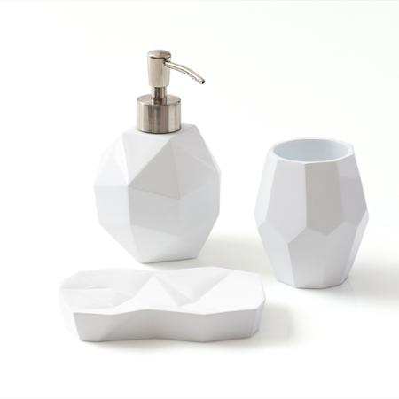 I love the  soap dispenser and dish .  I wouldn't use all 3 together, but rather one or two together.  The soap dish could work as a jewelry holder