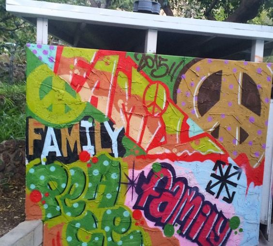a graffiti wall created at the construction party.  again, it's all about family