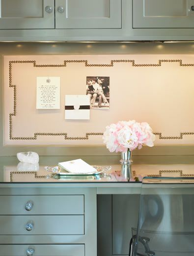"for me, i know that if i had to have the ""mom nook"" in the kitchen i would need a pin board.  however to keep it from looking generic, step it up a level and add a nailhead detail"