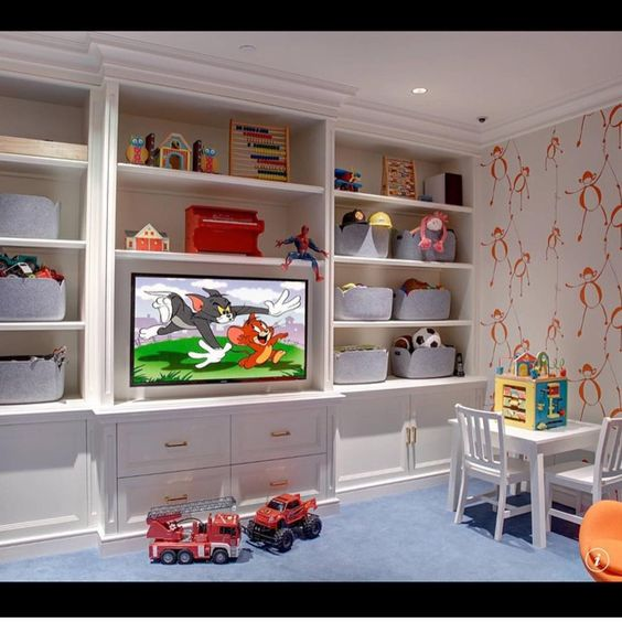 A beautiful space for a toddler. Change out the wallpaper and add a sofa and you've got a perfect hangout space that will work perfectly for your teenager.