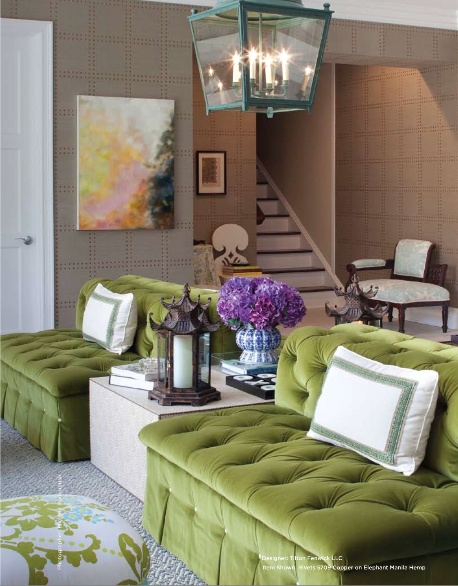 Isn't this whole room perfection?  If you want the BEST grasscloth you go to  Phillip Jeffries .  Pea green and purple is always such a great color combo.  And it's great for men and women alike
