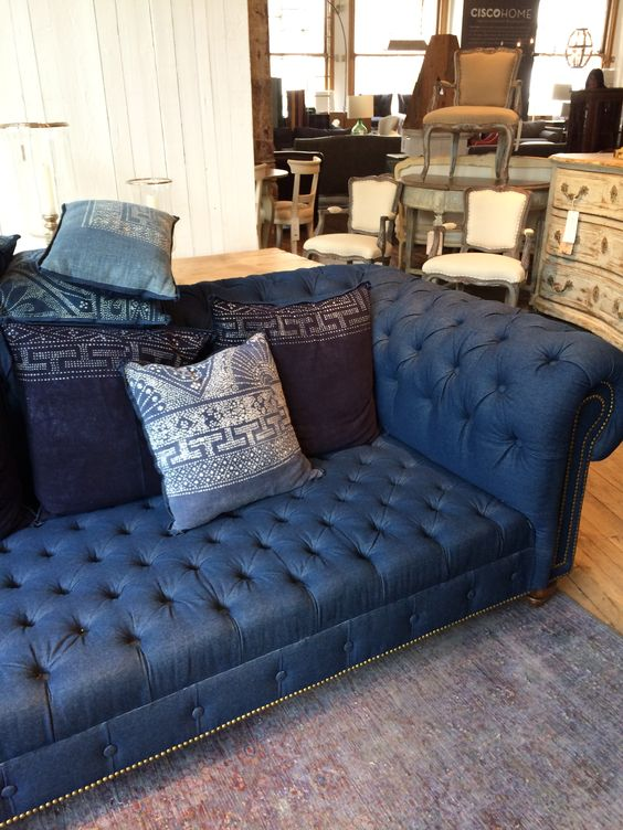 A chesterfield sofa upholstered in denim would work in so many settings
