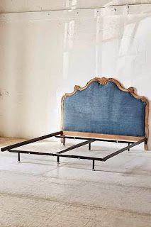 I love the mix of the feminine shaped headboard with the hard working denim
