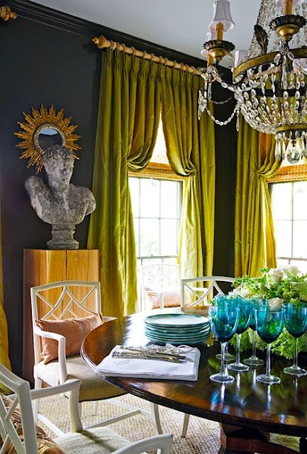 Ok, i'm in.  I love this chartreuse green against those walls with the warmth of the wood table and pedestal