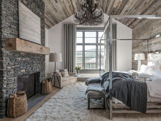 What an elegant feminine modern mountain  bedroom .