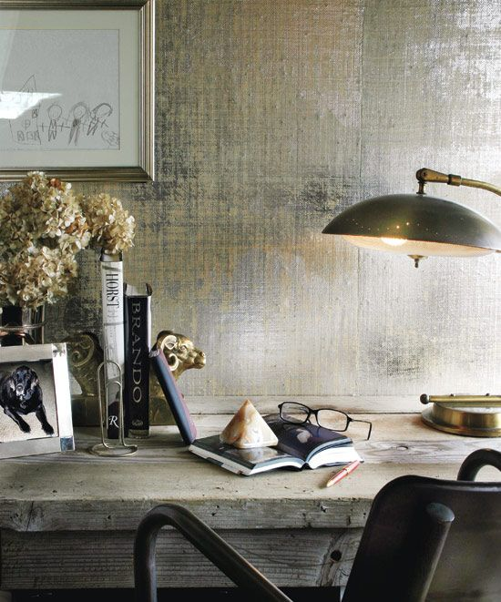 I Like This High Contrast Between The Metallic Wallpaper And Rustic Desk NbspAnd