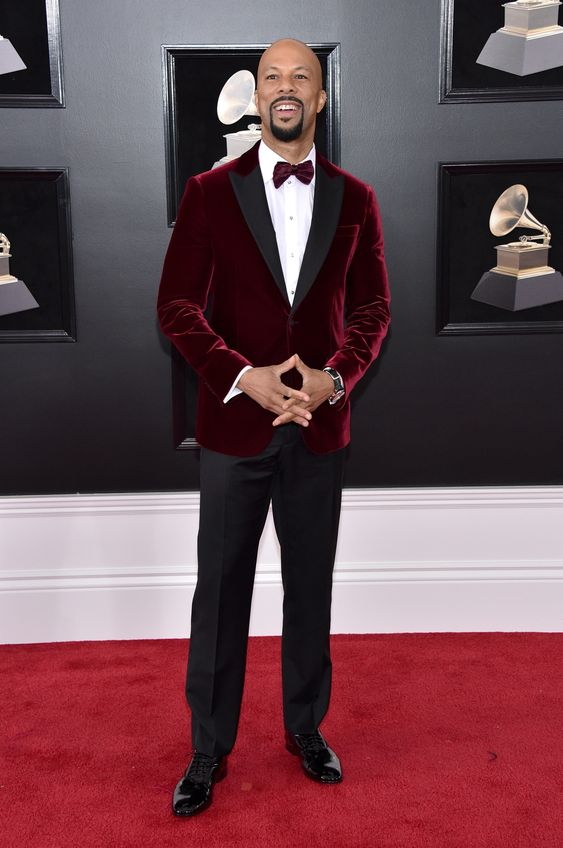 Common in Tiffany & Co. jewelry.  I'm normally not a fan of the velvet seen everywhere these days.  But this merlot color in velvet really shows the depth of the fabric and color.  It's a great pairing with the finish of his black pants.