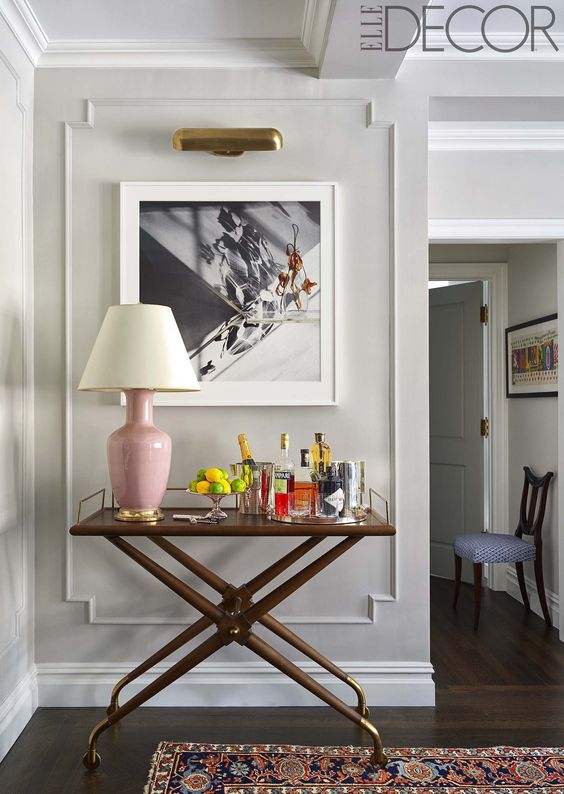 I'm crushing on that bar cart.  I seriously need to carve out a space for a bar.  via